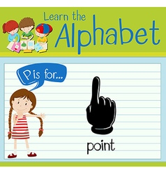 Flashcard letter P is for point vector