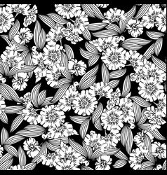 Floral seamless pattern black backgroun vector