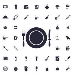 Fork knife and plate icon vector