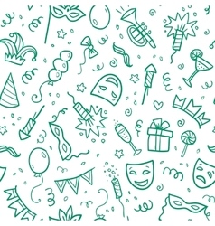 Green carnival symbols in doodle style on white vector image
