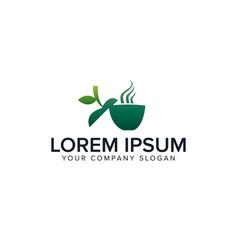 green coffee logo drink logo design concept vector image