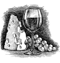 Hand drawing still life with a wine vector
