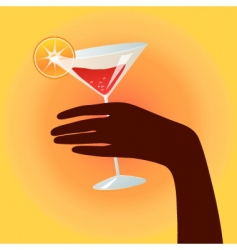 hand holding a cocktail glass vector image