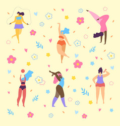 happy plus size girls and active healthy lifestyle vector image