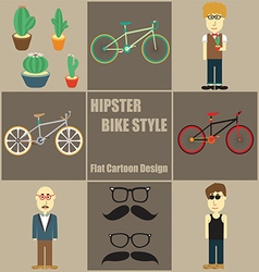 Hipster Bike Style People Flat Cartoon vector image