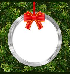 holiday gift card with christmas ball bow and fir vector image