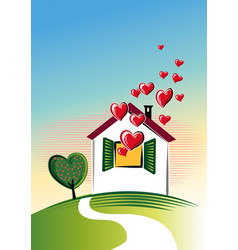 House from which many hearts out vector