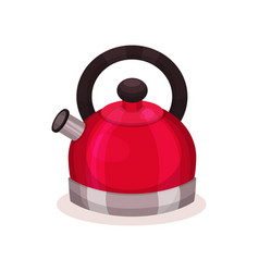 icon of steel bright red kettle with brown handle vector image