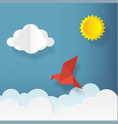 in paper art style bird with clouds and sun on vector image