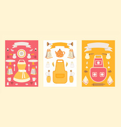 isolated household icons on set banners vector image
