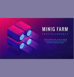 isometric mining farm landing page concept vector image