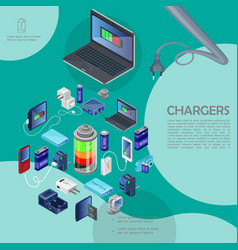 isometric modern chargers template vector image