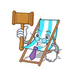 Judge beach chair mascot cartoon vector