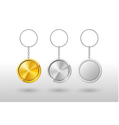 Keychains realistic metal and plastic round vector