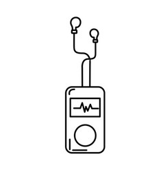 Line mp3 player with rhythm cardiac and headphones vector