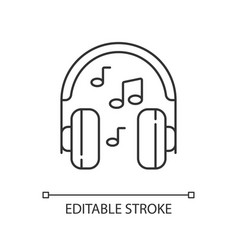 Listening to music linear icon vector