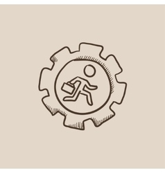 Man running inside the gear sketch icon vector