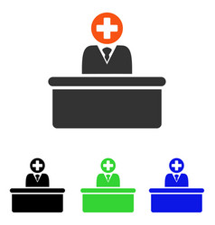 Medical bureaucrat flat icon vector