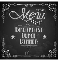 Menu written on chalkboard vector