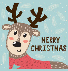 Merry christmas greeting card with a cute deer vector