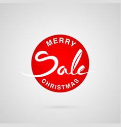 Merry christmas sale round lettering logo vector