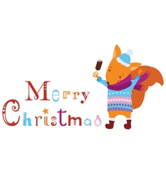 Merry Christmas squirrel vector image