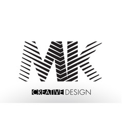 Mk m k lines letter design with creative elegant vector