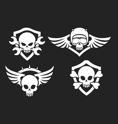 Motorbike riders skull signs vector