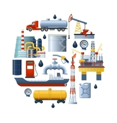 Oil Industry Round Composition vector image