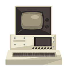Old computer 70s technologies screen vector