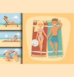 people on beach outdoors summer lifestyle family vector image