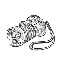 Photo camera with huge lens sketch vector