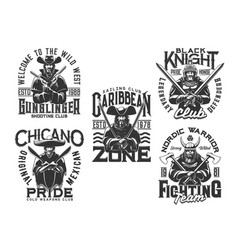 pirate knight warrior and wild west t shirt print vector image
