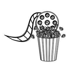 pop corn with film production icon vector image vector image