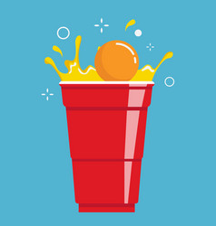 Red beer pong plastic cup and ball vector
