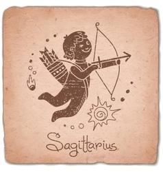 Sagittarius sign horoscope vintage card vector