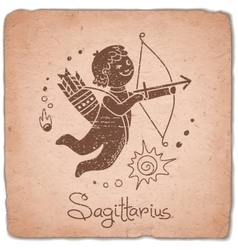 Sagittarius zodiac sign horoscope vintage card vector