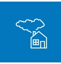 Save energy house line icon vector image