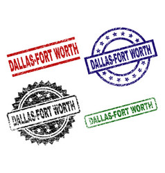 Scratched textured dallas-fort worth seal stamps vector