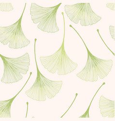 Seamless floral pattern with ginkgo leaves vector