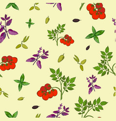 seamless pattern of hand drawn fresh vector image