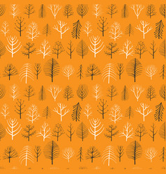 seamless patterns with doodle trees vector image