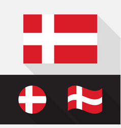 set denmark flag flat design vector image