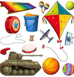 Set of different colorful toys vector