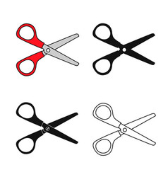 set red scissors isolated on white background vector image