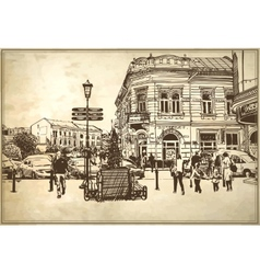 Sketch of Uzhgorod cityscape vector