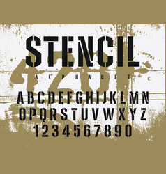 stencil font 009 vector image