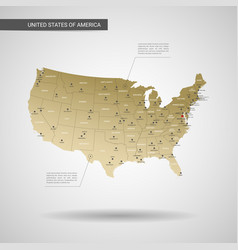 stylized united states of america map vector image