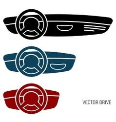 Three icons car dash boards vector image