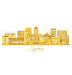 topeka kansas city skyline golden silhouette vector image